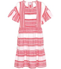 Velvet Striped Cotton Dress Red