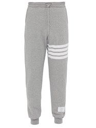 Thom Browne Striped Cotton Track Pants Light Grey