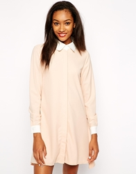 Daisy Street Shirt Dress With Contrast Sleeves Nude