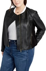Rachel Roy Plus Size Women's Quilted Moto Jacket Black