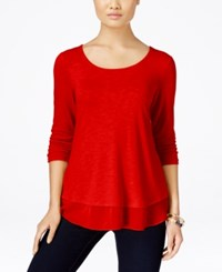 Styleandco. Style And Co. Petite Chiffon Hem Three Quarter Sleeve Top Only At Macy's New Red Amore