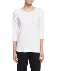 Caroline Rose 3 4 Sleeve Terry Top Women's White
