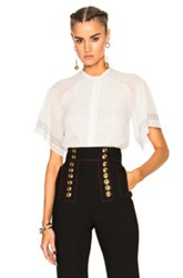 Burberry Prorsum Regimental Pleat Cape Sleeve Top In White