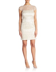 Cachet Crochet Sequin Embellished Dress Ecru