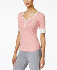 Tommy Hilfiger Henley Pajama Top Pink Icing
