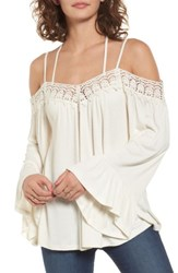 Sun And Shadow Women's Crochet Trim Off The Shoulder Top
