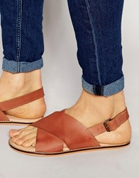 Asos Sandals In Tan Leather With Cross Over Strap Tan