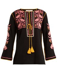 Figue Zoe Embroidered Cotton Shirt Black Multi