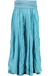 Donna Karan Crinkled Silk Maxi Skirt Blue