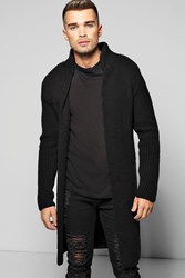 Boohoo Heavy Knitted Cardigan With Pocket Black