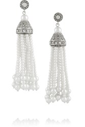 Kenneth Jay Lane Silver Tone Faux Pearl Tassel Earrings Metallic