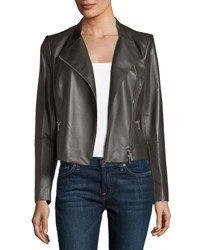 Lafayette 148 New York Cropped Leather Moto Jacket Brown