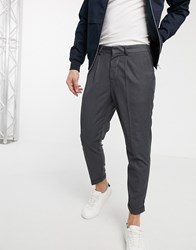 New Look Pleat Pull On Smart Joggers In Mid Grey