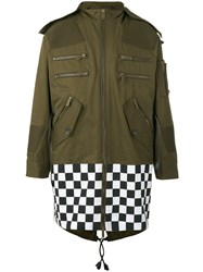 Dsquared2 Oversized Checkboard Military Jacket Men Cotton 44 Green