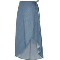 River Island Womens Light Blue Wrap Denim Maxi Skirt