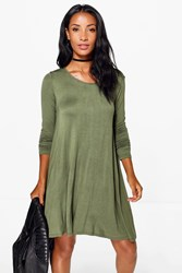 Boohoo Long Sleeve Scoop Neck Swing Dress Khaki