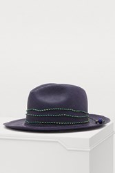 Sensi Studio Panama Hat With Straw Details Navy