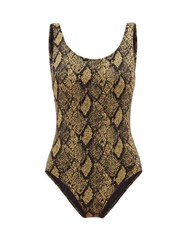 Solid And Striped The Lulu Snake Jacquard Swimsuit Black Print