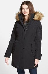 Women's Michael Michael Kors 'Expedition' Faux Fur Trim Down And Feather Fill Parka Black