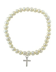 Lord And Taylor 6Mm Freshwater Pearl Sterling Silver Cross Charm Stretch Bracelet