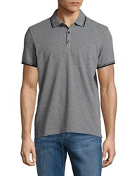Kenneth Cole Contrast Short Sleeve Polo Flannel Heather
