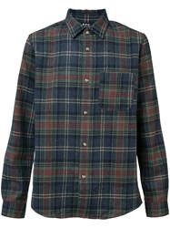 A.P.C. Plaid Shirt Men Polyamide Wool L Blue