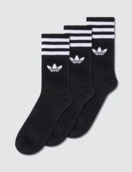 Adidas Originals Striped Mid Cut Socks 3 Packs Black