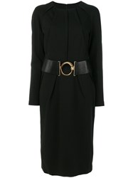 Class Roberto Cavalli Belted Gathered Collar Dress Polyamide Polyester Spandex Elastane Viscose Black