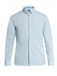 Lanvin Button Cuff Stitch Detail Cotton Poplin Shirt Light Blue