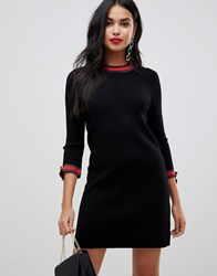 Morgan Knitted Swing Dress With Contrast Tie Detail In Black Multi