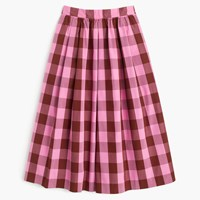 J.Crew Cotton Midi Skirt In Oversized Gingham Fuchsia Rust