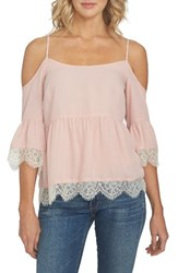 1.State Women's Cold Shoulder Lace Blouse Rosy Flush