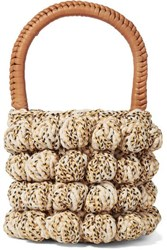 Ulla Johnson Agathe Leather Trimmed Crocheted Tote Beige