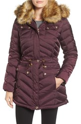 Laundry By Shelli Segal Women's Belted Down And Feather Fill Utility Parka With Faux Fur Trim Wildberry