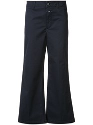 Closed Flared Cropped Trousers Blue