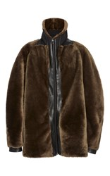 Dion Lee Taupe Shearling Flight Bomber Jacket Dark Green