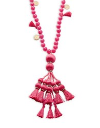 Kate Spade Silk Tassel And 12K Goldplated Pendant Necklace Pink