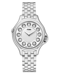 Fendi Crazy Carats Diamond Multicolor Topaz And Stainless Steel Small Bracelet Watch White