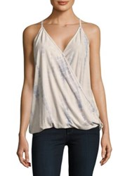 Design Lab Lord And Taylor Faux Suede Tie Dye Tank Top Blue Wash