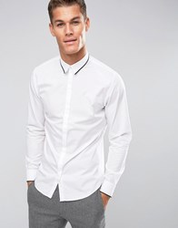 Selected Homme Longsleeve Slim Shirt With Tipped Collar White