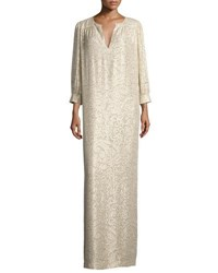 Elizabeth And James Melaney Metallic Paisley Caftan Champagne