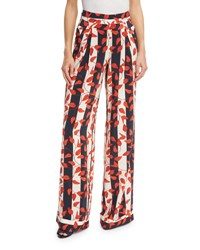 Johanna Ortiz Striped Leaf Print Silk Pants Red Navy Red Patterned