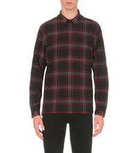 The Kooples Classic Fit Checked Wool Blend Shirt Red Black