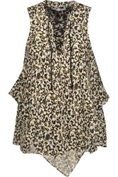 Derek Lam 10 Crosby By Lace Up Printed Silk Chiffon Top Ivory