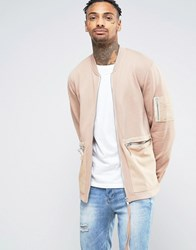 Asos Jersey Bomber Jacket With Woven Pockets And Long Zip Pull Beige