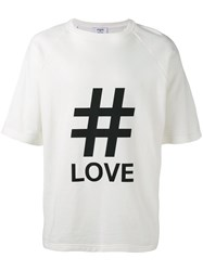 Ports 1961 Oversized Love Print T Shirt Men Cotton Polyurethane L White