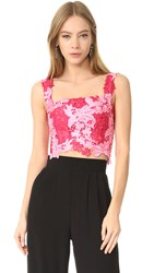 Monique Lhuillier Lace Crop Top Magenta Rose Pink
