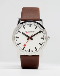 Mondaine Leather Watch In Brown 41Mm Brown