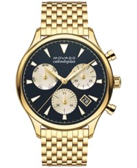 Movado Men's Swiss Chronograph Heritage Gold Tone Stainless Steel Bracelet Watch 43Mm 3650015