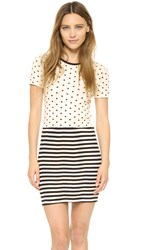 Edith A. Miller Combo Crew Neck Mini Dress Black Nat Polka Dot And Stripe